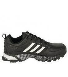 Кроссовки мужские Adidas Marathon (Адидас Марафон) кожаные Black/White