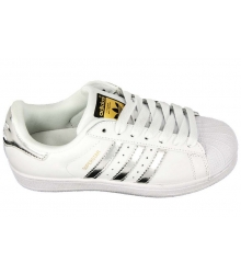 Кроссовки женские Adidas Superstar (Адидас Суперстар) White/Silver/Gold