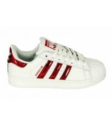 Женские кроссовки Adidas Superstar (Адидас Суперстар)White/Red Light