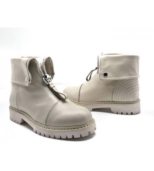 Ботинки зимние женские Alexander McQueen (Александр Маккуин) кожаные Beige