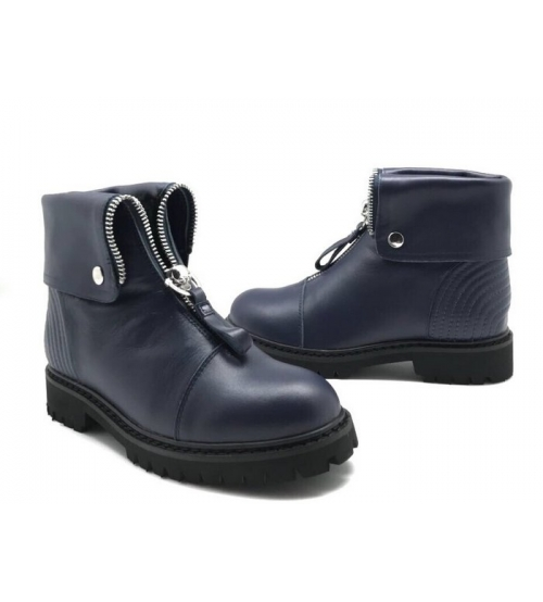 Ботинки зимние женские Alexander McQueen (Александр Маккуин) кожаные Blue
