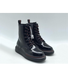 Ботинки женские Alexander McQueen (Александр Маккуин) кожаные на шнуровке Black