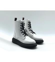 Ботинки женские Alexander McQueen (Александр Маккуин) кожаные на шнуровке White