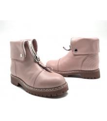 Ботинки зимние женские Alexander McQueen (Александр Маккуин) кожаные Pink