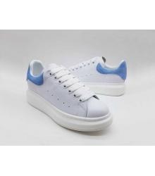 Женские кроссовки Alexander McQueen (Александр Маккуин) кожаные с голубой вставок White