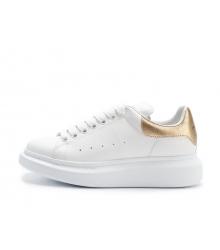 Женские кроссовки Alexander McQueen (Александр Маккуин) кожаные с золотым задником White