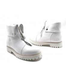 Ботинки зимние женские Alexander McQueen (Александр Маккуин) кожаные White