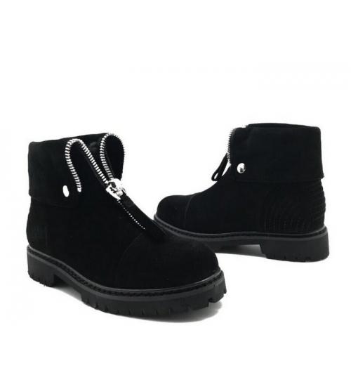 Ботинки зимние женские Alexander McQueen (Александр Маккуин) замшевые Black