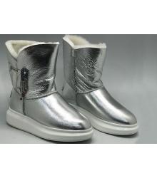 Угги женские Alexander McQueen (Александр Маккуин) зимние кожаные Silver