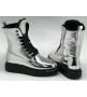 Ботинки женские Alexander McQueen (Александр Маккуин) зимние на меху кожаные Silver/Black