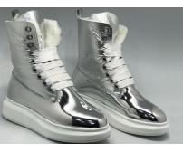Ботинки женские Alexander McQueen (Александр Маккуин) зимние на меху кожаные Silver