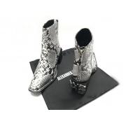 Ботильоны женские Alexander Wang (Александр Ванг) кожаные с молнией Silver