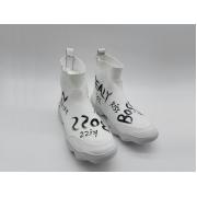 Женские кроссовки Balenciaga (Баленсиага) Kiss с надписями текстиль High White
