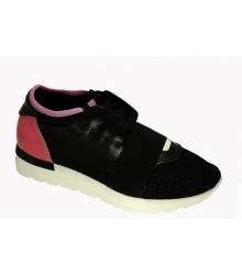 Женские кроссовки Balenciaga (Баленсиага) кожа и текстиль Black/Pink