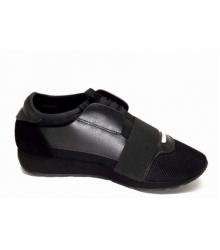 Женские кроссовки Balenciaga (Баленсиага) кожа и текстиль Black