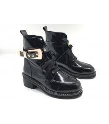 Ботинки женские Balenciaga (Баленсиага) кожаные Black