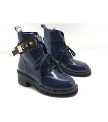 Ботинки женские Balenciaga (Баленсиага) кожаные Blue