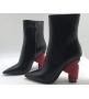 Ботильоны женские Balenciaga (Баленсиага) кожаные с красным каблуком Black