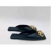 Мюли женские Balenciaga (Баленсиага) кожаные с лого Black