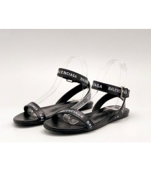 Сандалии женские Balenciaga (Баленсиага) кожаные с лого Black