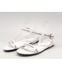Сандалии женские Balenciaga (Баленсиага) кожаные с лого White
