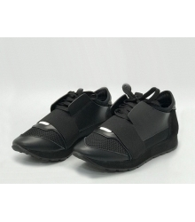Женские кроссовки Balenciaga (Баленсиага) Race Runner кожаные Black