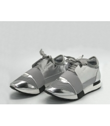 Женские кроссовки Balenciaga (Баленсиага) Race Runner кожаные Silver
