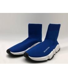 Женские кроссовки Balenciaga (Баленсиага) Speed Trainer 2018 на белой подошве Blue