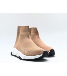 Женские кроссовки Balenciaga (Баленсиага) Speed Trainer на белой подошве Beige/Black