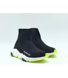 Женские кроссовки Balenciaga (Баленсиага) Speed Trainer на белой подошве Black/Green