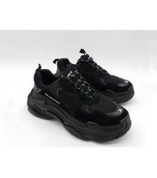 Женские кроссовки Balenciaga (Баленсиага) Triple S кожаные Black