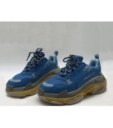 Женские кроссовки Balenciaga (Баленсиага) Triple S кожаные Blue