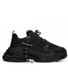 Кроссовки мужские Balenciaga (Баленсиага) Triple S кожаные на толстой подошве Black
