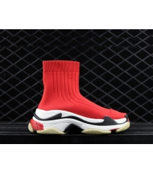 Женские кроссовки Balenciaga (Баленсиага) Triple S Speed текстиль High Red