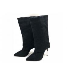 Сапоги женские Balmain (Бальман) замшевые высокий каблук шпилька Black