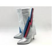 Сапоги женские Balmain (Бальман) замшевые высокий каблук шпилька Silver