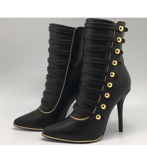 Ботильоны женские Balmain (Бальман) кожаные каблук шпилька Black