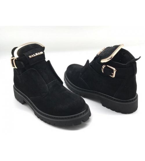 Женские ботинки Balmain (Бальман) замшевые Black
