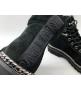 Ботинки женские Balmain (Бальман) кожаные на шнурках с молниями Black