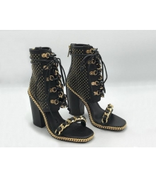 Босоножки женские Balmain (Бальман) кожаные на толстом каблуке на завязках Black/Gold
