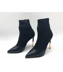 Ботильоны женские Balmain (Бальман) кожаные на высоком каблуке Black