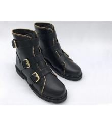 Ботинки женские Balmain (Бальман) кожаные с ремешками Black