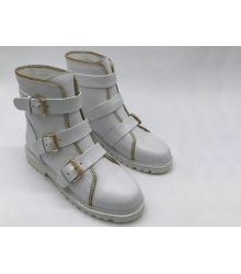 Ботинки женские Balmain (Бальман) кожаные с ремешками White