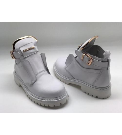 Женские ботинки Balmain (Бальман) кожаные White