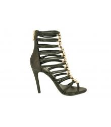Туфли женские Balmain (Бальман) на высоком каблуке Black