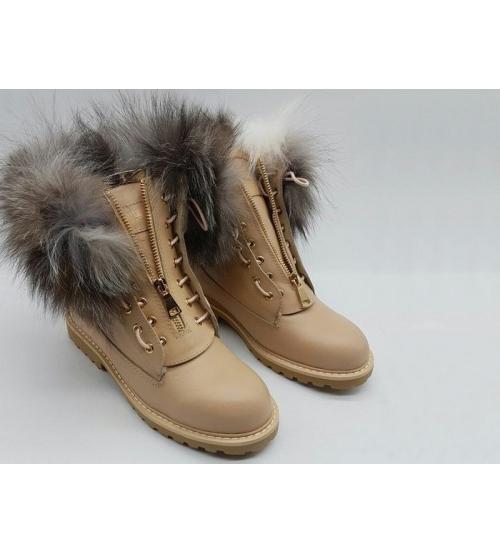 Ботинки зимние женские Balmain (Бальман) с мехом  кожаные Beige