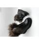 Ботинки зимние женские Balmain (Бальман) с мехом кожаные Black