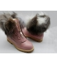 Ботинки зимние женские Balmain (Бальман) с мехом  кожаные Pink