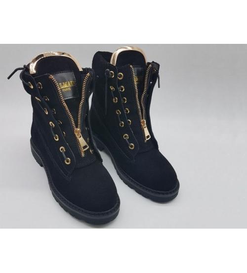 Ботинки женские Balmain (Бальман) замшевые Black