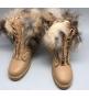 Ботинки с мехом Balmain женские (Бальман) High Beige